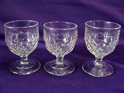 1880's EAPG GLASS NEW YORK HONEY COMB EGG CUPS / CORDIALS - SET OF 3