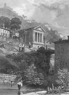 Italy, SPOLETO TREVI CHURCH TEMPLE OF CLITUMNUS ~ Old 1832 Art Print Engraving