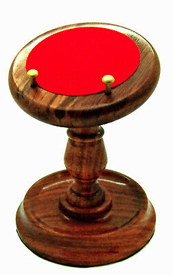 LECTERN STYLE POCKET WATCH STAND Wood Red Baize Brass Pegs Holder Mens Gift NEW