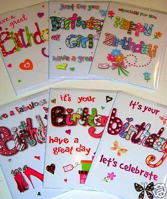 MAGNIFICENT 'ECLIPSE' CARDS X 36, JUST 36p! GENERAL BIRTHDAY FEMALE, wrapped,
