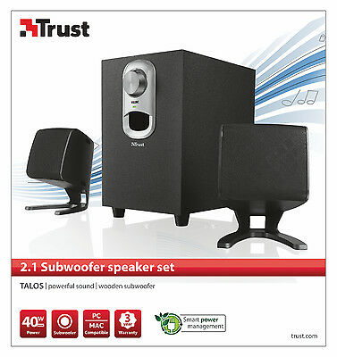 Trust 19833 Talos 20W Rms 40W Max 2.1 Speaker Set For Pc, Laptop, Ipod, Etc