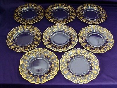 "CAMBRIDGE CRYSTAL ROSE POINT 3500 SALAD PLATES 8-1/2"" - SET OF 8 - EXCELLENT"