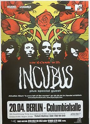 """Incubus """"a Crow Left Of The Murder Tour 2004"""" German Concert Poster"""