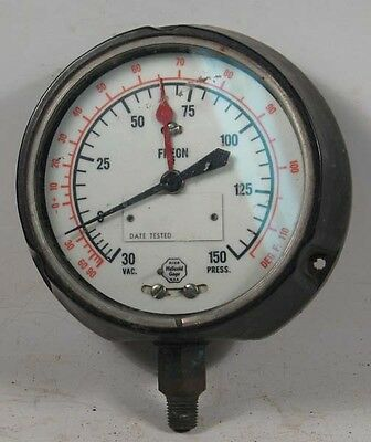 "LARGE HELICOID FREON VACUUM/PRESSURE GAUGE - 4 1/2"" FACE, READS 0 - 30"" VACUUM"
