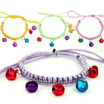 Adjustable Hand-woven Cotton Rope Colorful Bells Dog Cat Pet Collar Safety PE