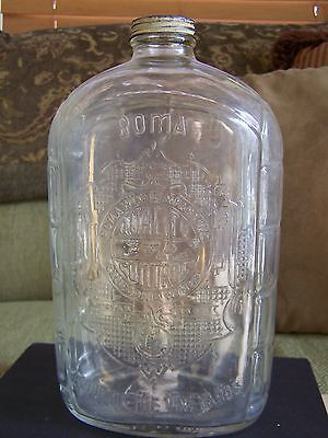 VINTAGE ANTIQUE CALIFORNIA ROMA WINES DECORATED DETAILED GLASS BOTTLE RARE HTF