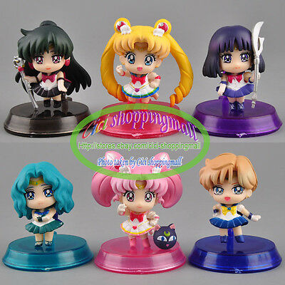 6pcs Sailor Moon Sailor Chibi Neptune Pluto Saturn Uranus Figures Set 20th Anive