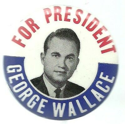 George Wallace For President 1968 Third Party Political Campaign Pin