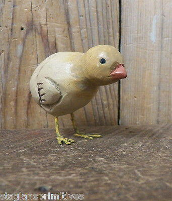 "Primitive Hatching 2"" Wooden Wood Carved Chick Chicken Peep Easter Spring Bird"