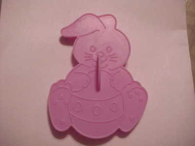 Vintage 1990 Wilton Lilac Plastic Easter Cookie Cutter ~ Bunny with Egg