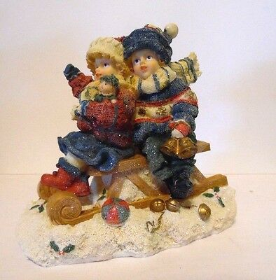Resin Boy & Girl On Sleigh Bells Winter Christmas Figurine  Holiday Decoration