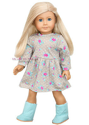 "ROSES & DOT DRESS & AQUA BOOTS outfit - clothes fits 18"" American Girl Doll Only"