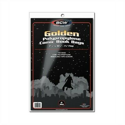 1000 BCW Golden Age Comic Book NON-RESEALABLE Poly Bags +Acid Free Backer Boards