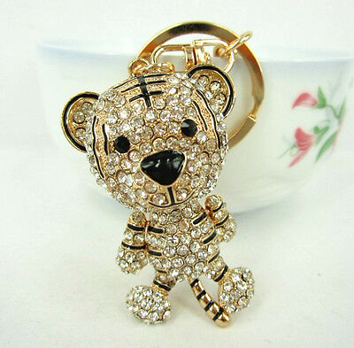 Tiger King Lovely Fashion Swarovski Crystal Charm Pendent Purse Bag Key chain Gi