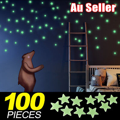 100PCS Home Wall Glow In The Dark Stars Stickers Baby KIDS Decal Luminous
