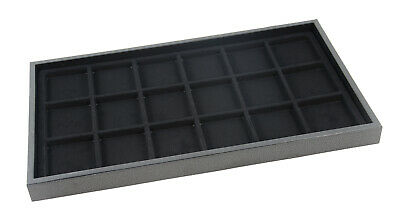 Black Plastic Stackable Jewellery Counter Display Tray 1in Deep & Black Insert