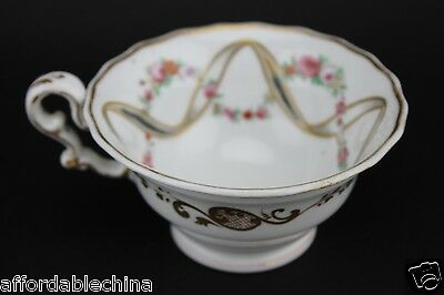 Early Copeland Garrett English Porcelain Cup Rose Swags ca. 1833