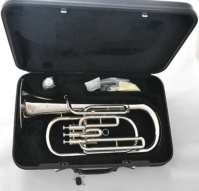 Silver nickel new Bb baritone horn with case