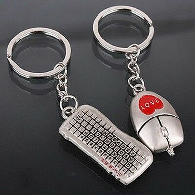 new couple key chain ring boy&girl Mouse&keyboard keychain Couples Keyring Set