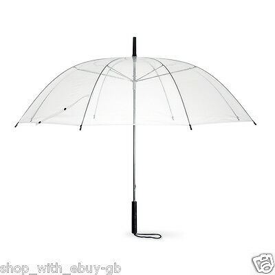 "38"" Transparent DOME UMBRELLA - CLEAR WEDDING BRIDE RAIN BROLLY WALKING - MANUAL"