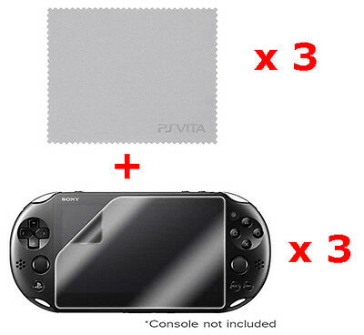 3 x OFFICIAL Sony Playstation PS VITA Clear Screen Protector & Cleaning Cloth UK