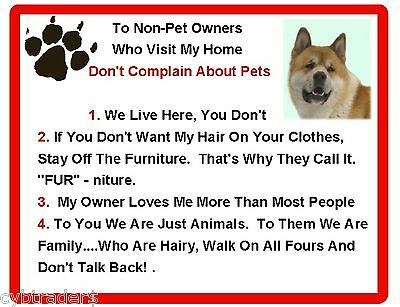 Funny Dog Akita House Rules Refrigerator / Magnet Gift Card Insert