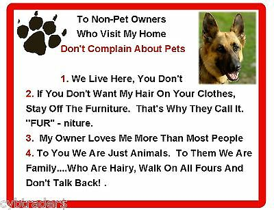 Funny Dog German Shepherd House Rules Refrigerator / Magnet Gift Card Insert