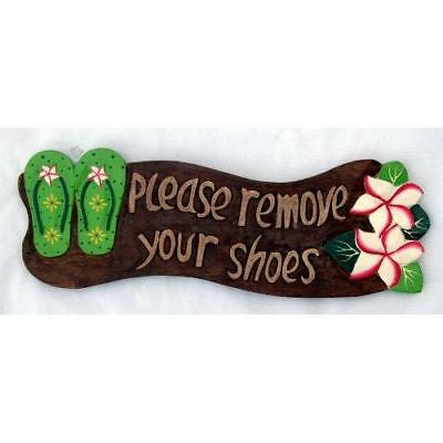 Please Remove Your Shoes Wood Sign with Flip Flops Tropical Flower New