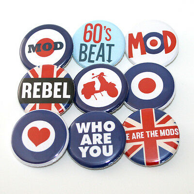 Mod Target 60s UK Badge Buttons Pins x 9 - 32mm