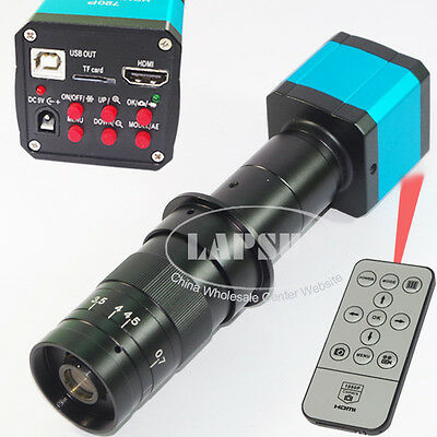 14MP 1080P HDMI Microscope USB Industry Camera Video Recorder +180X C-mount Lens