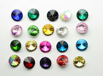 14mm Color Faceted Glass Rivoli Round Jewels strass Beads  100 PCS
