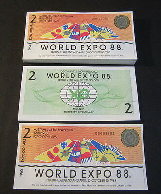 Lot of 100 pieces - Australian 1988 World Expo - $2 Notes - Bicentenary