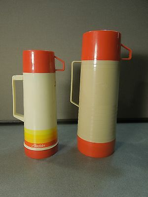 Lot of Two Vintage Aladdin Thermos Quart Pint Red Yellow Striped Dura Clad