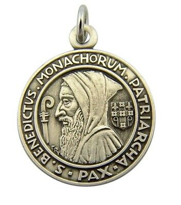 Saint St Benedict Profile Medal 3/4 Inch Sterling Silver Evil Protection Pendant