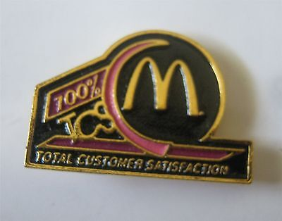 Total Customer Satisfaction 100 % McDonald's Pin New