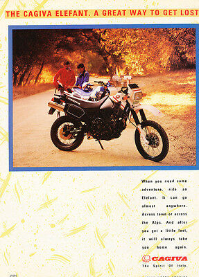 1987 Cagiva Elefant Original Motorcycle Advertisement Print Ad J287
