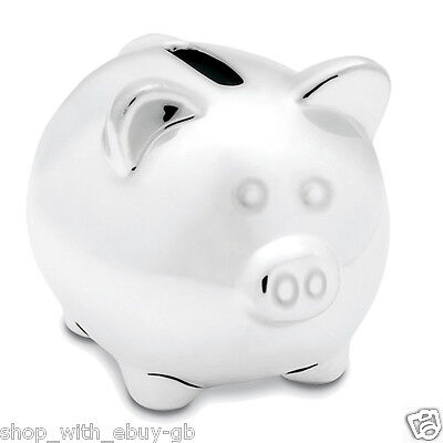 Silver Ceramic Piggy Bank / Money Box / Pig - Ideal Christening New Baby Gift