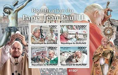 Burundi - Beatification of Pope John Paul II - 4 Stamp Sheet - 2J-135
