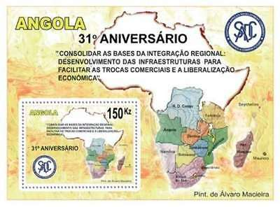 Angola - 2011 South Africa Map on Stamps -  Stamp S/S 1A-061
