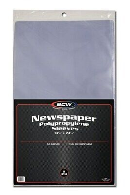 Pack of 50 BCW 14 x 24 Newspaper Acid Free 2-Mil Clear Poly Sleeves 14x24