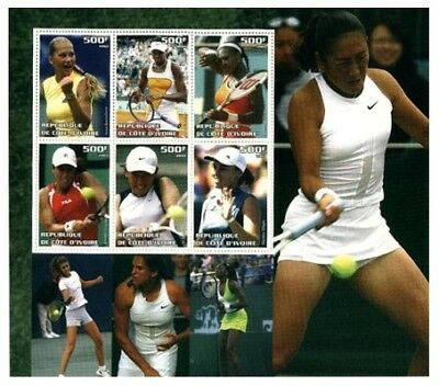 Women Tennis Pros on Stamps - 6 Stamp Deluxe Sheet  - 8312