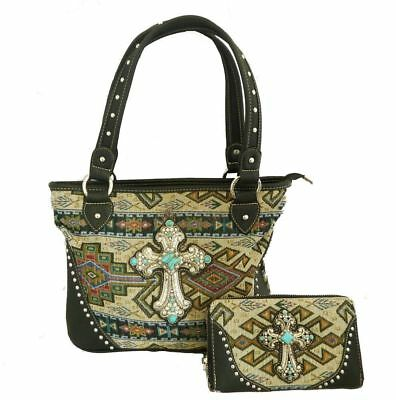 Montana West Ladies Tote Cowgirl Tapestry Aztec Design Purse Wallet Set Black