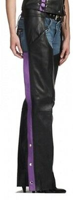 Womens PREMIUM LEATHER BLACK PURPLE STRIPE MOTORCYCLE CHAPS RETAIL $200