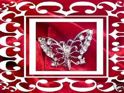 Vintage White Rhinestone Butterfly Pin CAT RESCUE