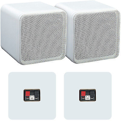 "Pair of 4"" ABS Bookshelf Speakers–80W 8Ohm–White HiFi Surround Sound Home Cinema"