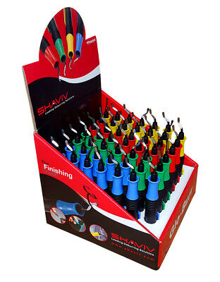 Shaviv Glo-Burr 48pcs of 1 Holder w/B10 Blade Blue,Yellow,Red & Green #29136