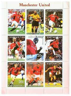 Manchester United Football Team on Stamps - 9 Stamp  Sheet 9507