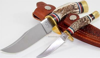 Colt Hunter's Genuine Round Stag Bone Fixed Blade Hunting Knife Combo Set
