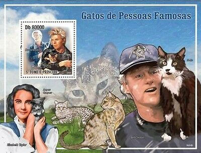 St Thomas - Cats of Celebrities Mint Stamp S/S ST9604b