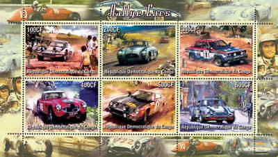 Rally Cars On Stamps - 6 Stamp  Sheet 110-08
